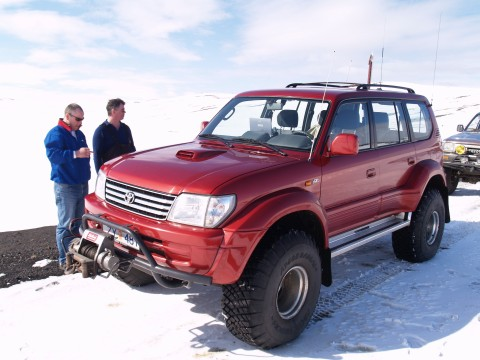4x4 Jeep Tour. Gudmundur on his Toyota Land Cruiser with Steinthor as