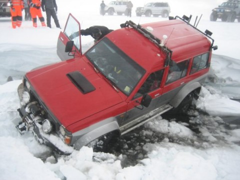 This Nissan Patrol takes more damage when it is driven off a 2 meter (7 feet) high bank into a small stream