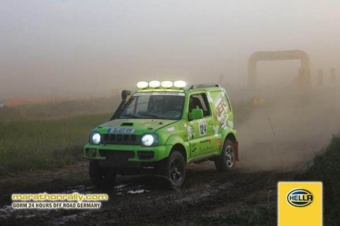 TEAM WERK1 racing in class T2 (stock class) with a Turbo Diesel Jimny 4x4, zero visibility on the start.